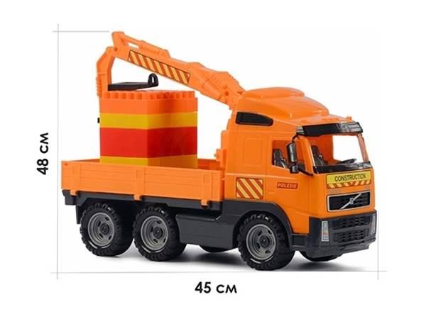 """Изображение """"Volvo"""", автомобиль-кран с манипулятором + конструктор Супер-Микс - 30 элем. Арт.8800"""