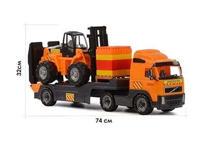 """Изображение """"Volvo"""", автомобиль-трейлер + автокар + конструктор """"Супер-Микс"""" - 30 элем. Арт.1589"""