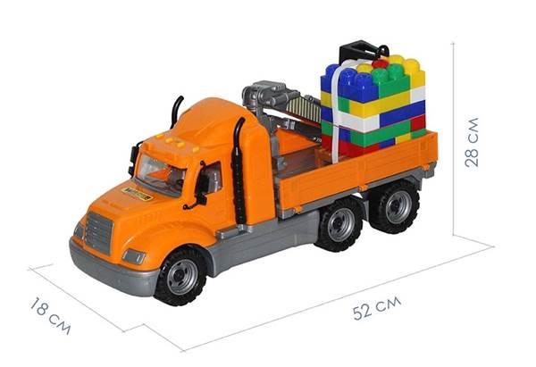 """Изображение """"Майк"""", автомобиль-кран с манипулятором + конструктор - 30 элем.  Арт.55606"""