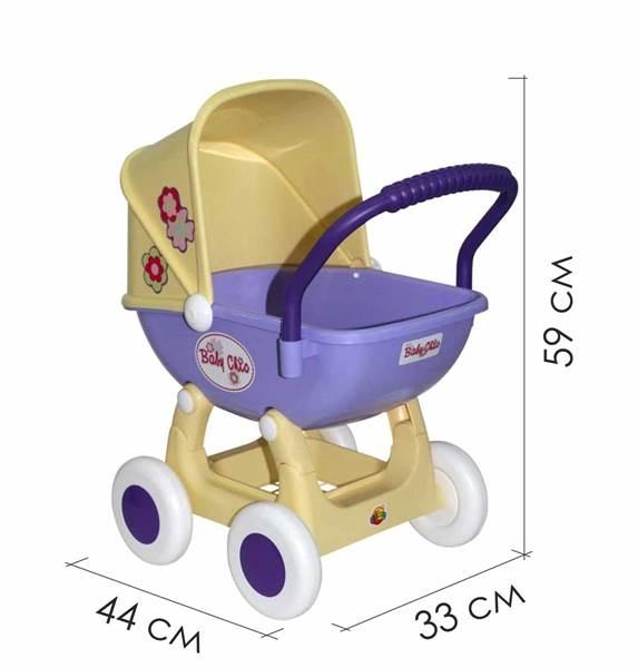 """Изображение Коляска для кукол """"Arina"""" 4-х колёсная (сине-жёлтая) Арт. 48202"""