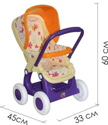 Изображение Коляска для кукол №2 прогулочная 4-х колёсная (бледно-жёлтая) Арт.48158