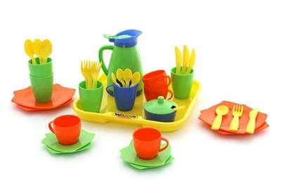 """Изображение Набор детской посуды """"Алиса"""" с подносом на 4 персоны Арт. 40640"""
