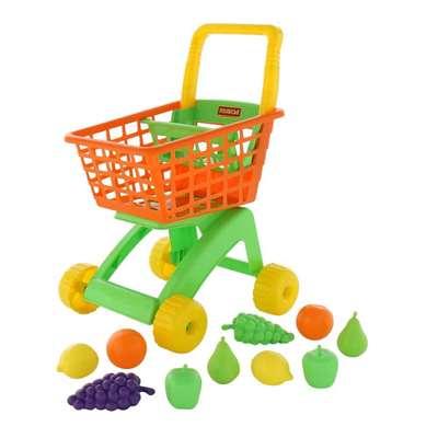 Изображение Тележка для маркета + набор продуктов №7 (10 элементов,оранжевая) Арт. 61911