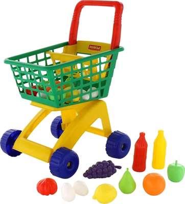 Изображение Тележка для маркета + набор продуктов №6 (19 элементов,зеленая) Арт. 61904