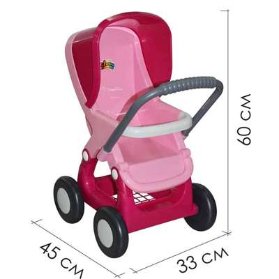 Изображение Коляска для кукол прогулочная 4-х колёсная (розовая)  Арт. 48134