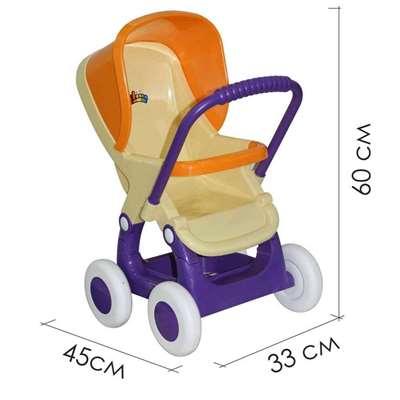 Изображение Коляска для кукол прогулочная 4-х колёсная (бледно-желтая)  Арт. 48134