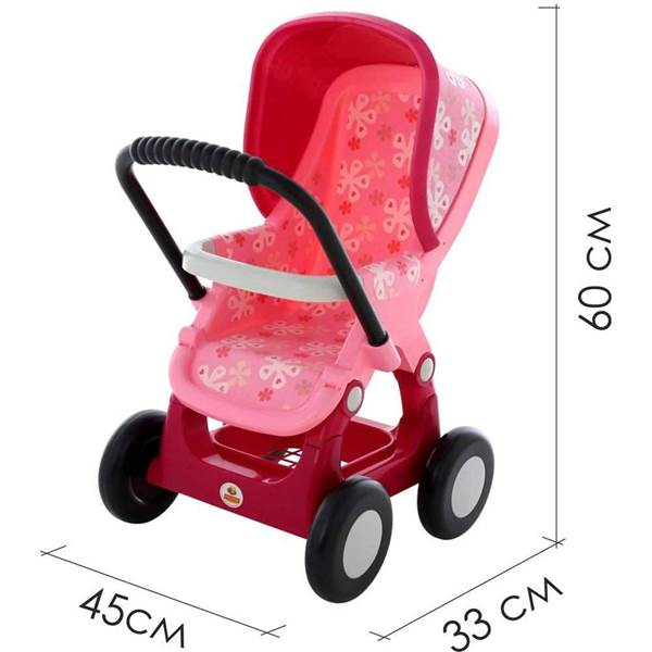 Изображение Коляска для кукол №2 прогулочная 4-х колёсная (розовая) Арт.48158