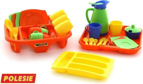 """Изображение Набор детской посуды """"Алиса"""" с сушилкой, подносом и лотком на 4 персоны Арт. 40718"""