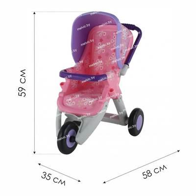 Изображение Коляска для кукол №2 прогулочная 3-х колёсная (розовая) Арт. 48141