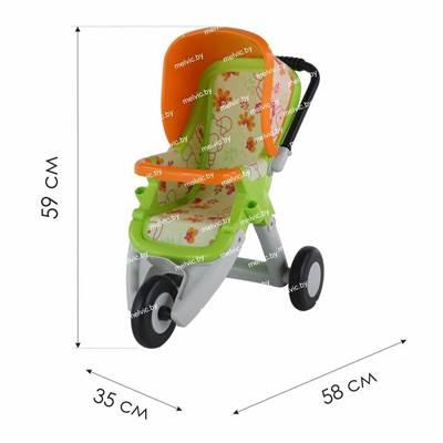 Изображение Коляска для кукол №2 прогулочная 3-х колёсная (лимонно-зелёная) Арт. 48141