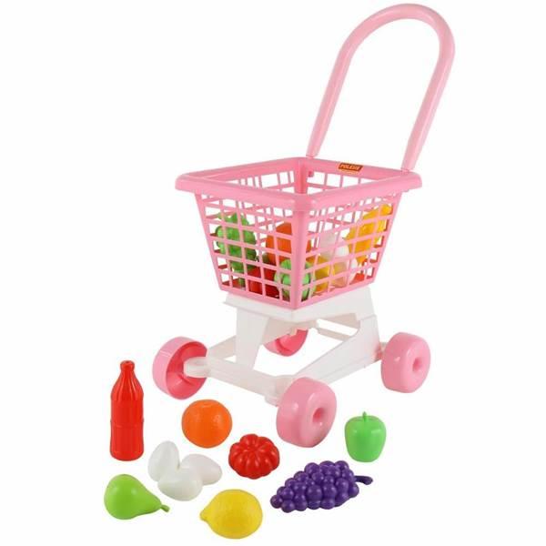 """Изображение Тележка """"Supermarket"""" №1 (розовая) + набор продуктов (в сеточке)  Арт. 68477"""