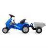 """Изображение Каталка-трактор с педалями """"Turbo-2"""" (синяя) с полуприцепом Арт.84651"""